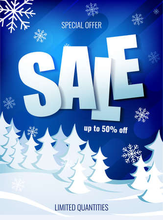 Winter sale up to 50 percent on the background of winter snow forest.
