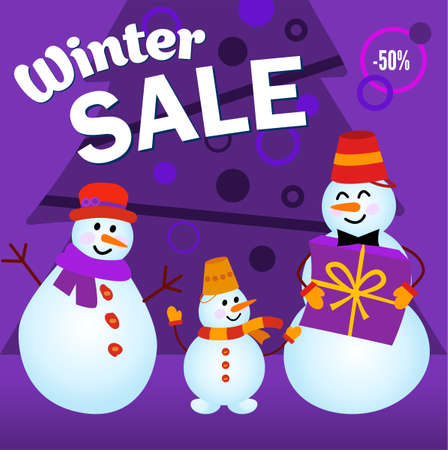 Winter sale, advertising layout. Family of snowmen, Give a gift Vettoriali
