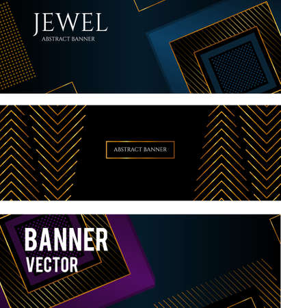 Vector Black Abstract background with squares. gold stripes Vettoriali