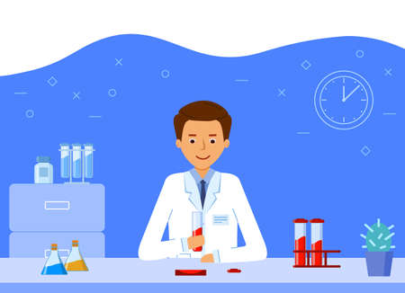 A laboratory assistant is conducting a blood test study. Vettoriali
