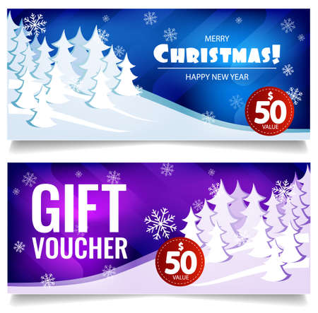 hristmas gift voucher. On background of winter snow forest.
