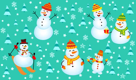 Winter pattern with snowmen, snowflakes and christmas trees. Vettoriali