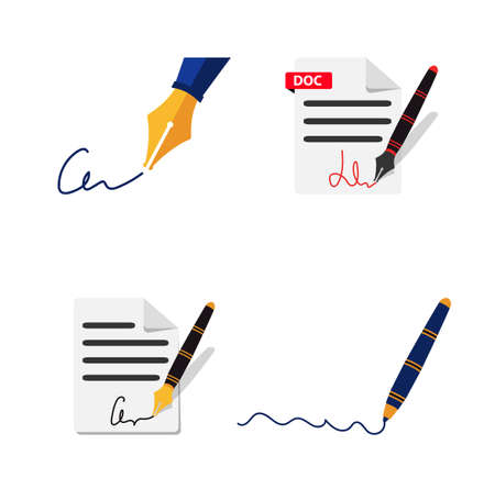 A fountain pen signs the document. A paper sheet with a signature.