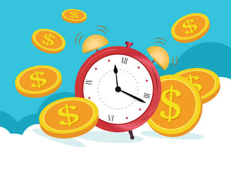 Business concept, Clock is coins on blue clouds. Business and finance management,