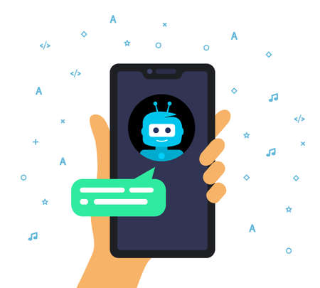 Concept online shop conversation with chatbot. Hand holding a mobile phone.