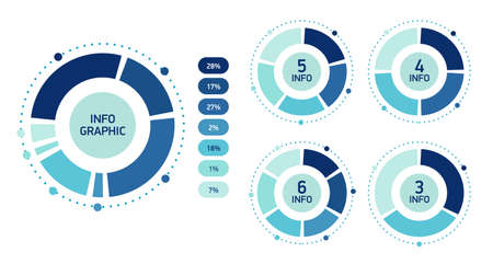 Set Blue Abstract infographics circle. Template cycle diagram, graph, presentation chart.