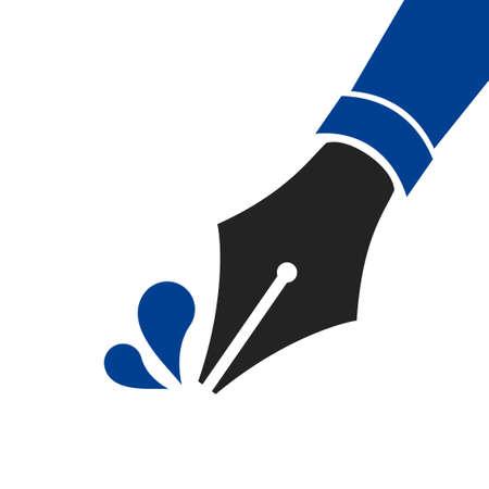 Blue Fountain pen nib. Icon symbol pen nib isolated