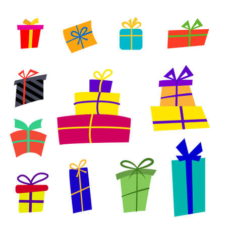 Big collections colorful gifts box. Gift icons in flat style, can be used for cards