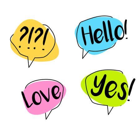 Big Set colorful speech bubble. Chat Hello, yes, love. Shaped banners, price tags,