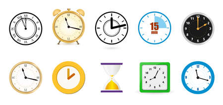 Big set of different color clock icons. Alarm clock, stopwatch, hourglass.