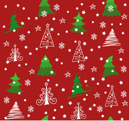Vector Seamless pattern with snowflakes. Winter forest, Christmas trees and snowflakes Vettoriali