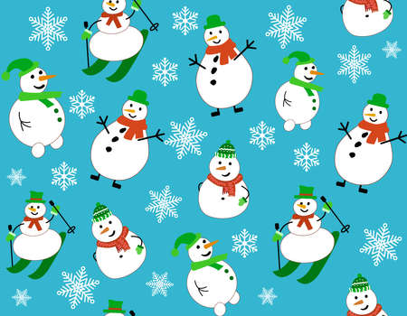 Winter pattern with snowmen and snowflakes. Snowman on skis Vettoriali
