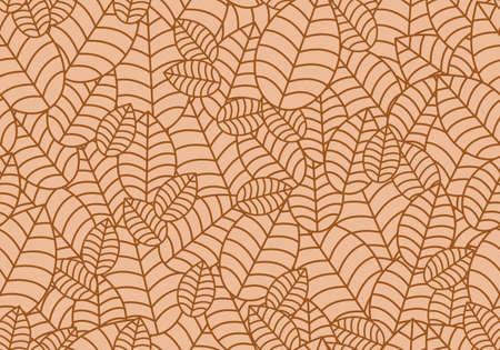 Seamless linear leaves pattern. Horizontal plant autumn leaf ornament. Vettoriali
