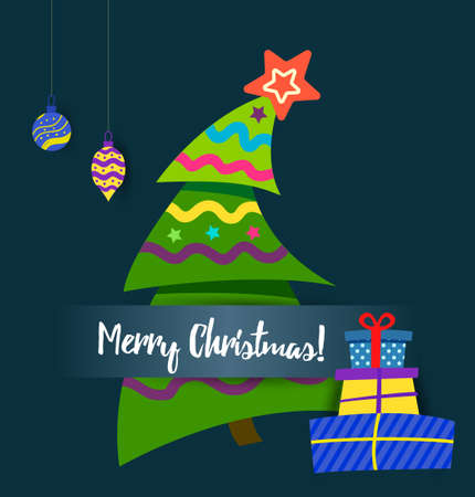 Poster vector Merry christmas, Greeting cards with paper christmas tree Vettoriali
