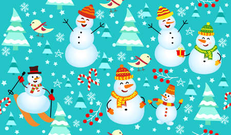 Winter pattern with snowmen, snowflakes and christmas trees. Family Snowman on blue background. Vettoriali