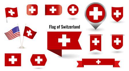 The Flag of Switzerland. Big set of icons and symbols. Vettoriali