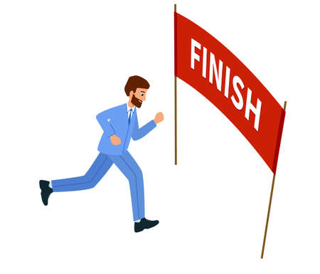 Businessman running the goal, Reached the finish line. Concept of overcoming difficulties and achieving goals. Vettoriali