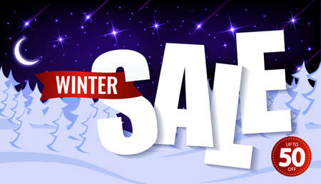 Paper Text, winter sale up to 50 percent. on the background of winter snow forest.