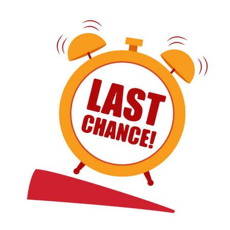 Last chance orange Speech bubble. Label with alarm clock.