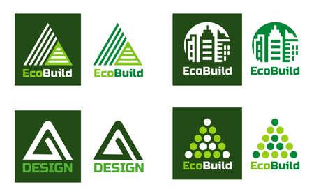 Eco design Real estate . Home building and symbols.