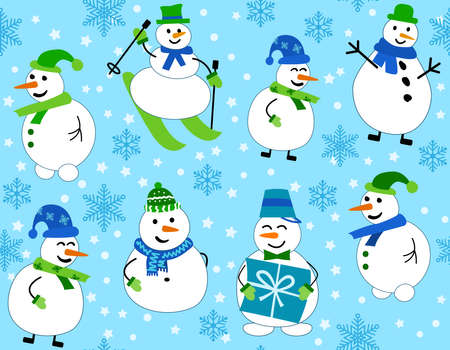 Winter pattern with snowmen and snowflakes. Snowman on skis and with gift