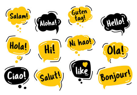 Speech Bubble. Hello, in different languages of the world. Hand drawn doodle Vettoriali