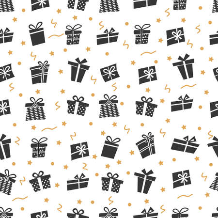 Vector Seamless pattern with gifts. Many gift boxes Vettoriali