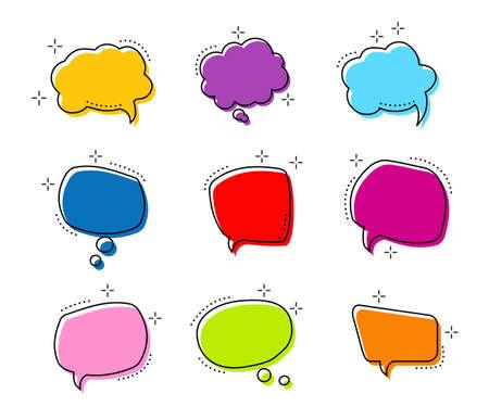Big set shape Bright color speech bubble. Chat bubbles in comic style.