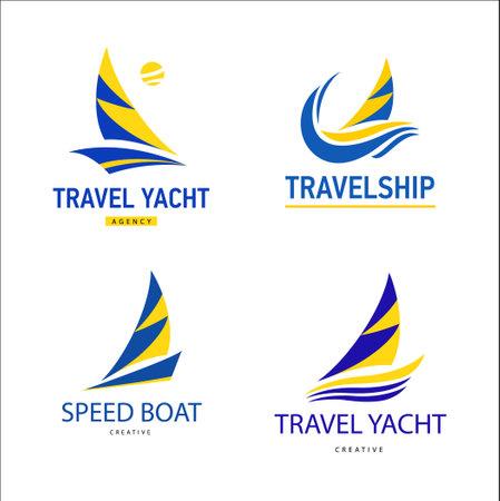 Set Bright blue travel boats sign.