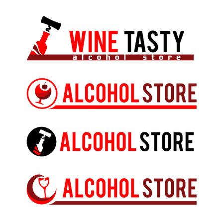 Set Sign Black corkscrew and a bottle of red wine. Illustration