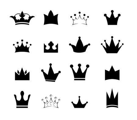 Set black sign crown. Design modern  symbols king crown for Business.