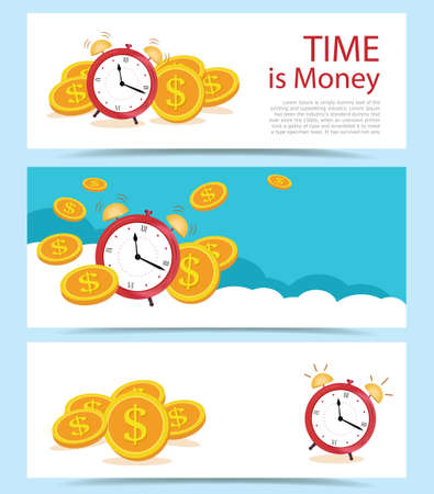 Set Banner concept Time is money, on blue clouds. Business and finance management,
