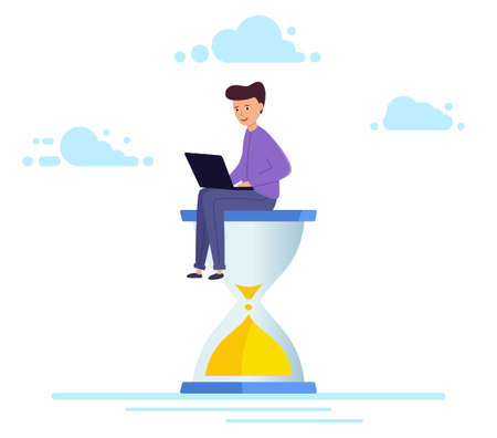 Office worker sits on an hourglass and works on a laptop business process, deadline,