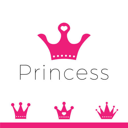 Pink sign crown princess. Design modern logos queen crown for Business.