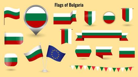 The Flag of Bulgaria. Big set of icons and symbols.