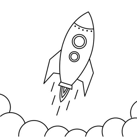 Rocket fly icon. Design rocket space ship in Black and white linear style.