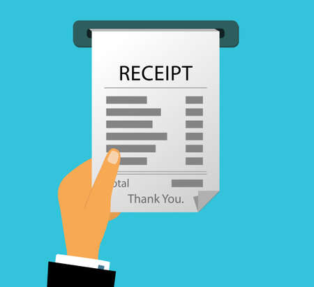 The hand receives a check to pay the bill. Online paper receipt Illustration