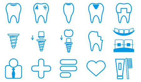 Dental Icons Set. simple vector illustration Linear style of icons.