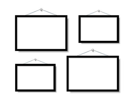 Frame for family photos. Vector mock up. blank frame art gallery. Illustration