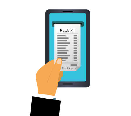 A person hand receives a receipt after paying online.