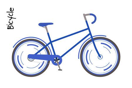 Blue bicycle. Man bike Vector illustration in modern