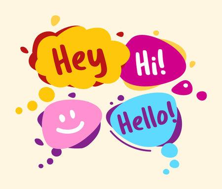 Concept speech bubbles in comic style. Hey, hello, hi, smile Illustration