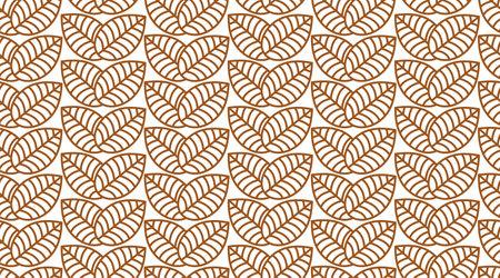 Seamless linear leaves pattern. Horizontal plant vector. Illustration