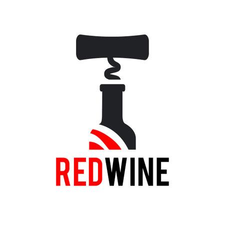 Sign Black corkscrew and a bottle of red wine. Design modern logos Illustration