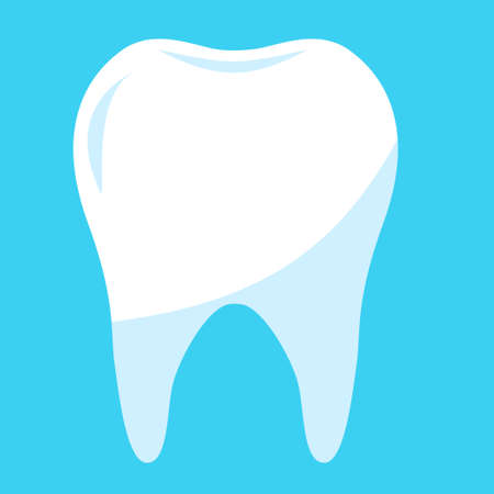 healthy tooth in blue background. clean tooth