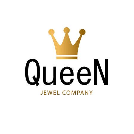 Golden sign crown queen. Design modern logos king crown for Business.