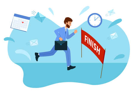 Businessman reached the goal, Reached the finish line. Concept of overcoming Illustration
