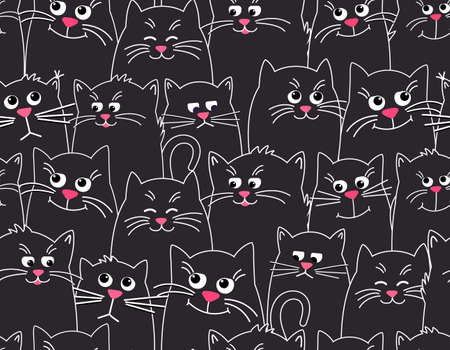 Cute cats black pattern background. Different faces of cats, funny, sad,