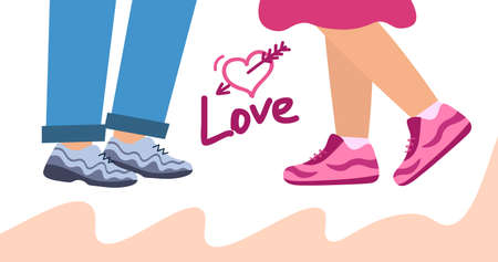 Loving couple. Love and kiss. Legs of a girl and a guy next to each other. Illustration