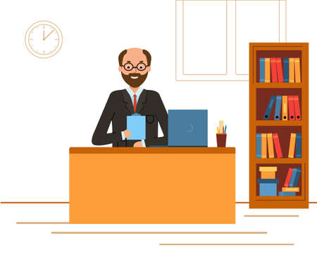 Boss in a suit working on a laptop computer. Businessman sitting at the office desk. Illustration